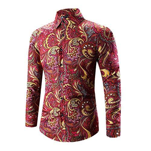 Red Rose Button Invierno Hombre Ropa De Camisetas Otoño Camisas Printed Oumar Larga E Casual Manga wqBROnB6
