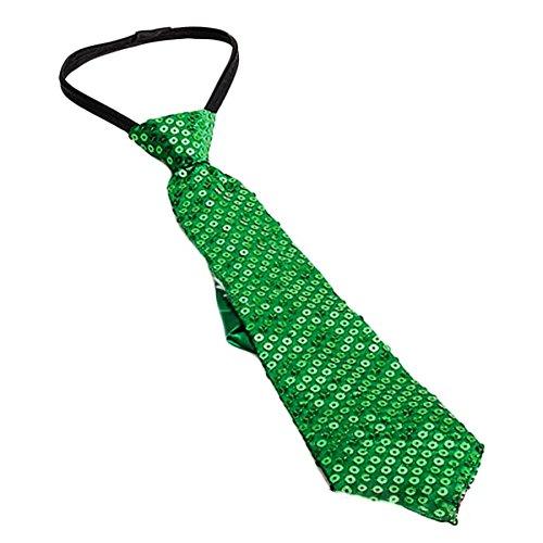 Corbata con lentejuelas de color verde para fiestas o bailes.