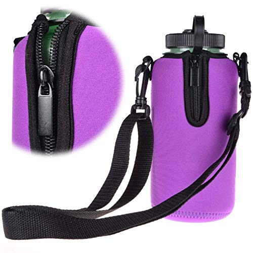 Protable Neoprene Insulated Water Drink Bottle Cooler Carrier Cover Sleeve Tote Bag Pouch Holder Strap for Kid Children Women MEN Biker Travel Cycling Climbing Sports (Purple)
