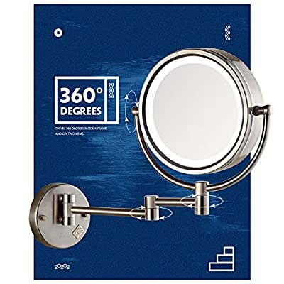 Gecious Wall Mount Magnifying Mirror with Light with 10X Magnification/LED Lighted/8 inches/Double Sided/Powered By Plug/Nickel finished