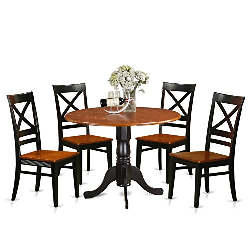 East West Furniture DLQU5-BCH-W 5 Piece Dining Table and 4 Wooden Kitchen Chairs Set Dublin