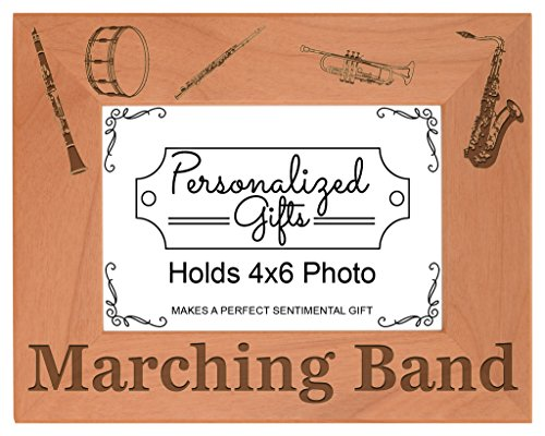 Personalized Gifts Marching Band Gift School Band Mom Dad Natural Wood Engraved 4x6 Landscape Picture Frame Wood (Best Clarinet For Marching Band)