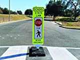 Shur-Tite''Stop for Pedestrian Within Crosswalk'' Safety Panel, Self- Correcting, w/Fixed Base