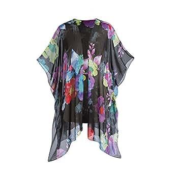 Women's Sheer Black Floral Kimono - One Size (Up To Size 16W)