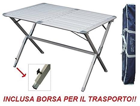 Tavolo Campeggio Alluminio Avvolgibile.Tavolo Tapparella Argo 110x70x72h Cm In Alluminio Con Piano
