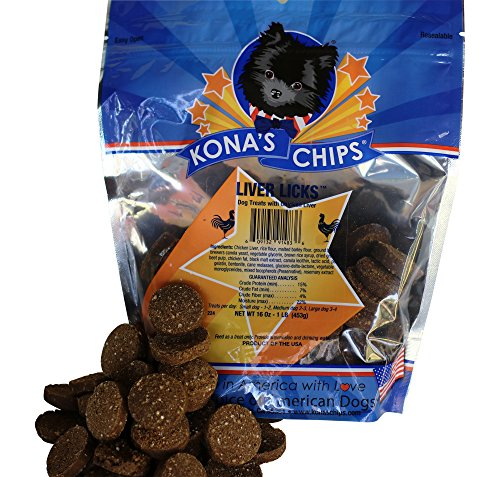 KONA'S CHIPS Liver Licks; Liver Dog Treat Chews, Dog Treats Made in USA ONLY, Healthy & Safe Treats for Your Dog, Dog Liver Treats 1 lb -