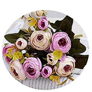 Miao Express 10heads/1 Bundle Silk Tea Roses Bride Bouquet for Christmas Home Wedding New Year Decoration Fake Plants Artificial Flowers,Light Purple 87