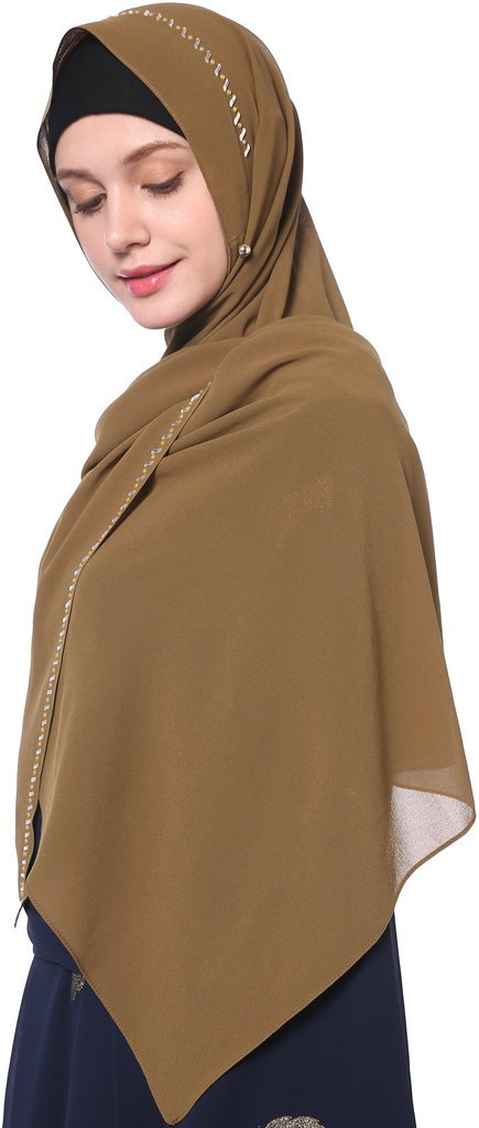YI HENG MEI Women's Modest Muslim Soft Chiffon Rhinestones Long Hijab Headscarf with Buttons 67×24inch,Khaki