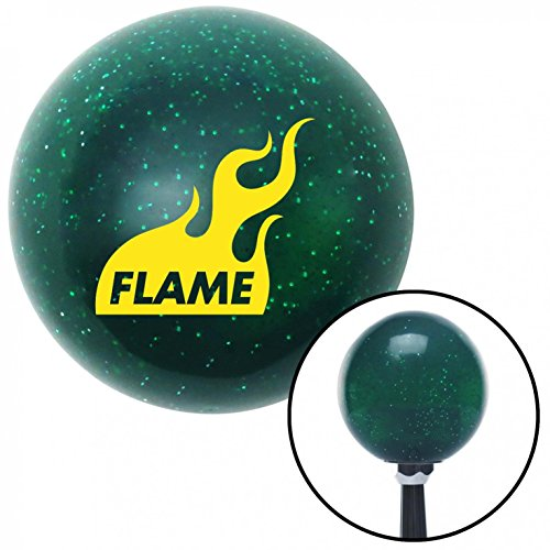 American Shifter 63624 Green Metal Flake Shift Knob with 16mm x 1.5 Insert (Yellow Flame Icon)
