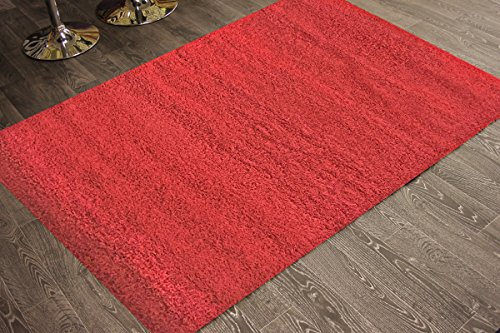 Adgo Chester Shaggy Collection Solid Design Vivid Color High Pile Carpet Thick Fluffy Kids Bedroom Living Dining Room Shag Floor Rug, 6' x 9' , S20 - Red by ADGO