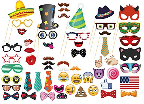 MOT Global Photo Booth Props - 58 Pieces Party Photo Props Kits with Emoji for Wedding Birthdays Reunions ()