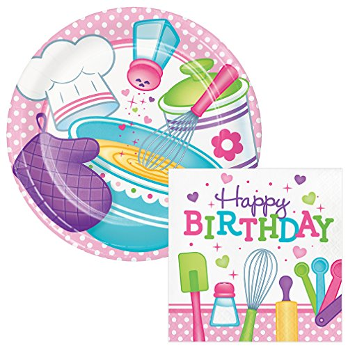 Little Chef Birthday Lunch Plates & Napkins Party Kit for 8 (Cups Invites Plates Napkins)