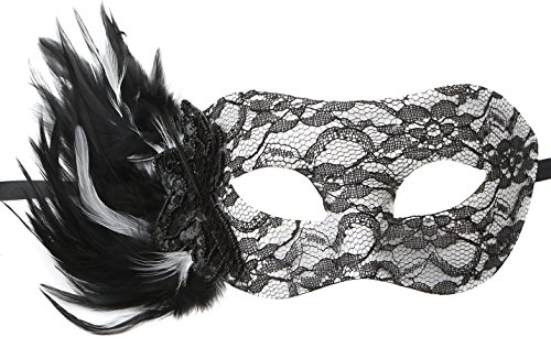 [DOYOLLA Mysterious Sexy Black Venetian Lace Masquerade Mask with Black & White Feathers] (Aristocrat Halloween Costume)
