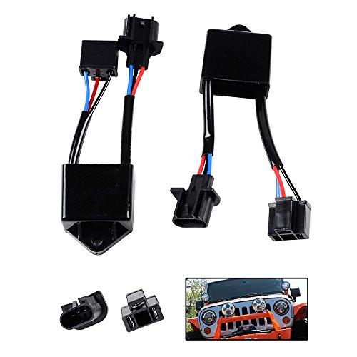 Headlamp Module (2x LED Headlamp Decoder H4 to H13 Anti Flicker Module Harness Kit For Jeep Wrangler Truck Lite w/ 7 Inch Round Shape)