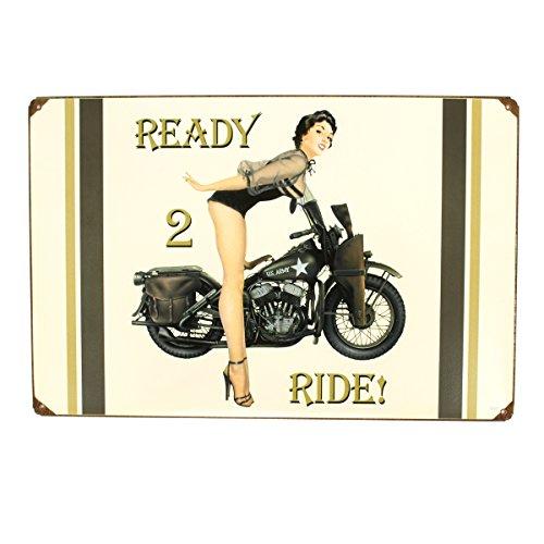 U.S. WWII Vintage Metal Sign of 1943 WLA Motorcycle and Pinup Girl