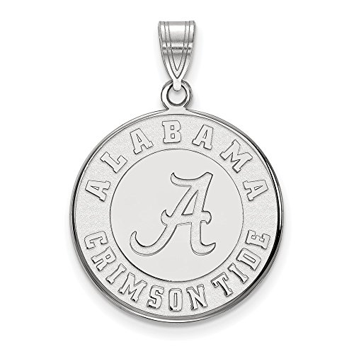 10k White Gold LogoArt Official Licensed Collegiate University of Alabama (UA) Large Disc Pendant by Logo Art