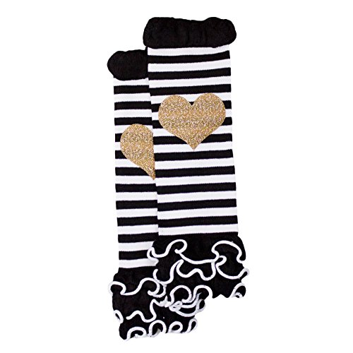 Gold Glitter Heart Black and White Stripe Ruffle Baby Leg Warmer
