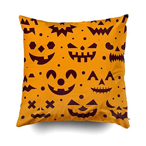 Musesh Halloween Horror face Evil Scary Spooky Eyes Angry Ghost Cushions Case Throw Pillow Cover for Sofa Home Decorative Pillowslip Gift Ideas Household Pillowcase Zippered Pillow Covers 20X20Inch ()