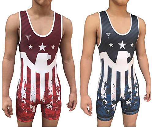 Singlet Wrestling Custom (TRI-TITANS Victorious Eagle Reversible Wrestling Singlet - Freestyle Greco Roman Folkstyle - Red and Blue Mens & Youths (Youth M: 40lbs-55lbs))