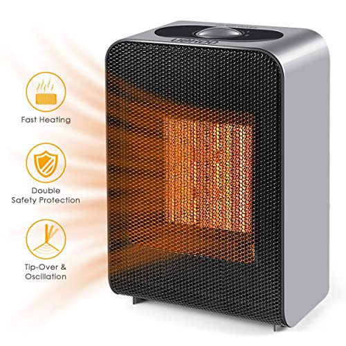 UOKOO Portable Space Heater, Indoor 750W/1500W Ceramic Electric Heater for Home/Office/Bedroom with Adjustable Thermostat, Personal Desk Heater