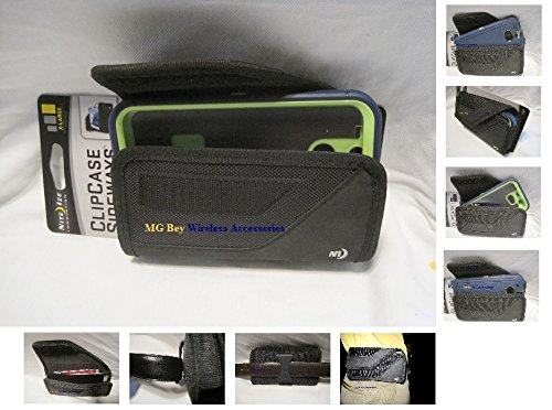 Nite Ize Black Extended Sideways Ballistic Horizontal Rugged Heavy Duty X-large Holster Pouch W/Durable Fixed Belt Clip Fits At&t / T-mobile /Sprint / Verizon HTC One M8 Blue/Gray Glacier/Black/Green/Purple/Hot Pink Otterbox Commuter/Defender Case