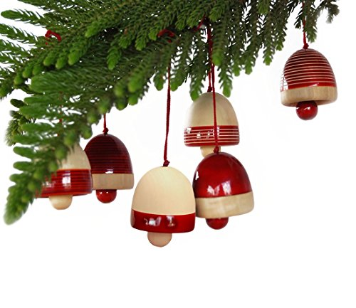 Maya Organic Handcrafted Wooden Christmas Decor : Bells – Red (Set of six)