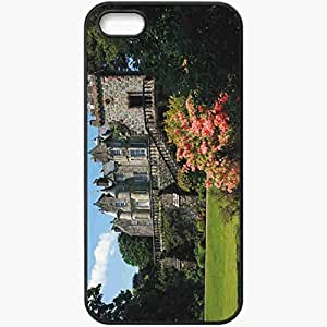 Protective Case Back Cover For iPhone 5 5S Case England Castle Trees Flowers Summer Wall Black