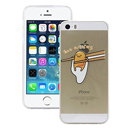iProtect TPU Schutzhülle Apple iPhone 5 5s Soft Case Silikon - Gel Hülle Lazy Egg Stäbchen