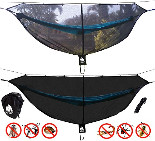 CHILL GORILLA DEFENDER 11' BUG NET Stops Mosquitos, No See Ums & Repels Insects. Fits ALL Camping Hammocks. Compact, Lightweight. Eno Accessory. Fast Easy Setup. Size 132
