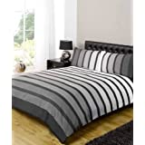 USA QUEEN SIZE (230CM X 220CM ) - UK KING SIZE)) PACIFIC BLACK GREY COTTON BLEND STRIPED COMFORTER COVER SET #OHOS *RH*