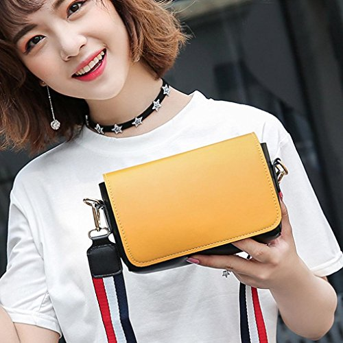 Shoulder Bag Girls Small Bag The Fashion Strap Leisure Color Messenger Yellow Women Bag Nylon Hit HCFKJ for qHxvnSE7n