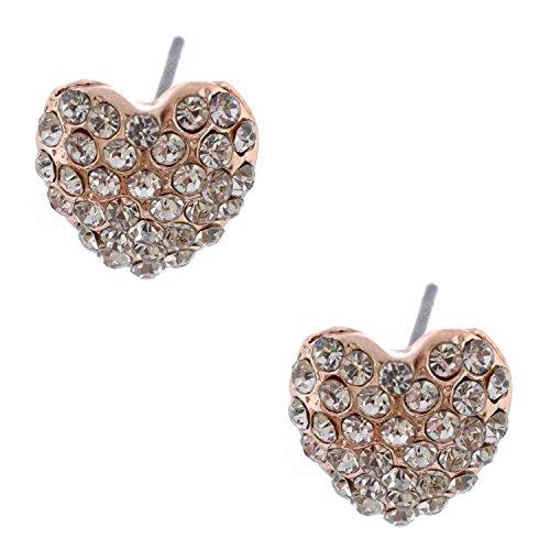 Topwholesalejewel Rose Gold Plating Sapphire Rhinestone Heart Shape Stud Earring