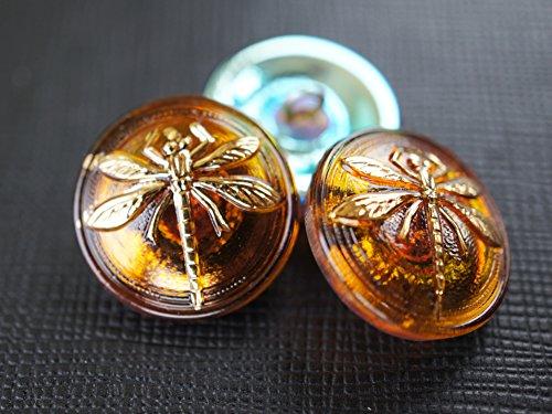 Glass Gold Buttons - Hand Made Art Czech Glass Button Topaz Gold Dragonfly, size 8'', 18mm, 1pc