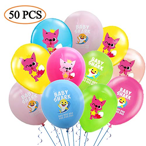 50 pcs Baby Cute Shark Balloons Party Supplies - 12 Inch Large Latex Balloons For Kids Birthday Shark Theme, Under the Sea, Baby Shower Birthday Party Decorations]()