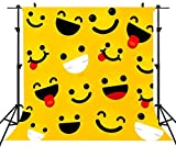 ST 6X6FT Yellow Cute Smile Face Photography Backdrop Funny Cartoon Emoji Expressions Background for Family Party Backdrop or YouTube Background Props ST660221