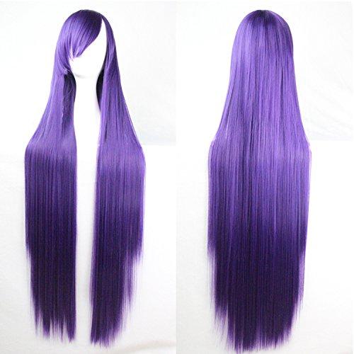 con 60% de descuento Morado oscuro Disfraz de peluca resistente al calor, pelo liso, liso, liso, largo, 100 cm  toma