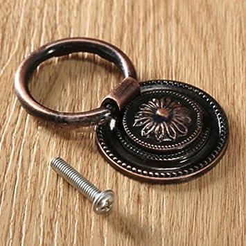 BRUSSELS08 retro antico in lega di zinco cabinet manopola fiore intagliato cassetto goccia anello Pull maniglia per porta cassettiere armadio cucina bagno, Lega di zinco, Antique Brass, 37 mm