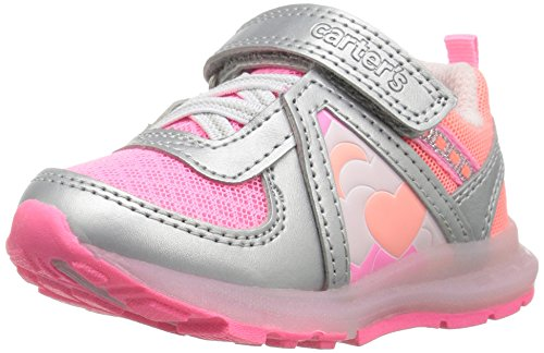 carter's Unison Girl's and Boy's Light-Up Sneaker, Silver/Pink/Orange, 7 M US Toddler