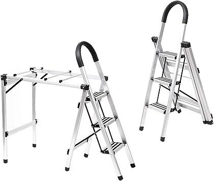 Extensibles Escalera multifuncional, estante de secado Doblez de espiga Escalera de doble uso Aleación de aluminio Escalera de 3 pasos interior: Amazon.es: Bricolaje y herramientas