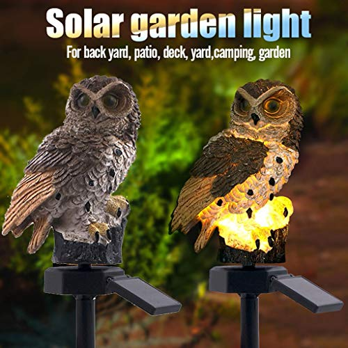 Lawn Lamp Solar Power Owl Shape Auto Led for Patio Pathway Outdoor Garden Glass Stainless Steel Waterproof On/off Bright White Wireless Lighting for Yard Walkway Landscape In-Ground (Borwn 1pcs)