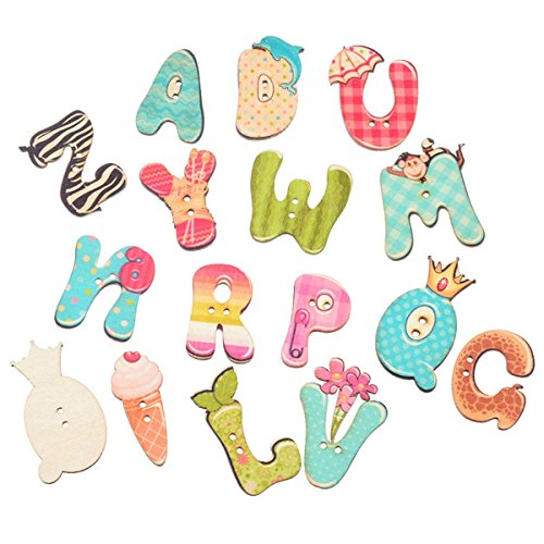 Alphabet Buttons (50PCs 2 Holes alphabet Wood Sewing Buttons Scrapbooking Buttons Sewing Accessories)