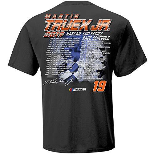 Checkered Flag 2019 NASCAR Cup Series Driver Schedule T-Shirt-Martin Truex Jr #19-Charcoal-XL