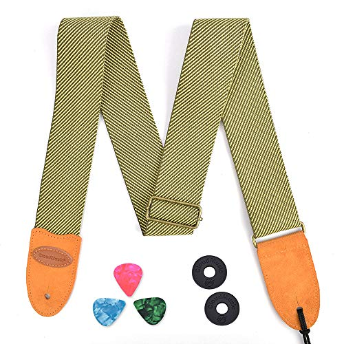 - CLOUDMUSIC Guitar Strap Vintage Cotton Woven For Acoustic Electric Bass(Yellow Twill)