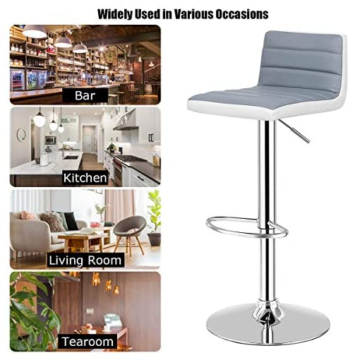 Kitchen COSTWAY Bar Stool, Modern Swivel Adjustable Armless Barstools, Counter Height PU Leather Bar Stools for Kitchen Dining… modern barstools