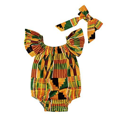 Toddler Baby Girls African Print Off Shoulder Romper Jumpsuit+ Hair Band 2 Packs Clothes Set