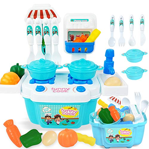 Basket Play Dinner Foods (Cooking Toys Pretend Cooking Play Set Kitchen Accessories Toy Preschool Education Learning Playset Play Food Dishes Fruit Vegetable Dinner Mini Pot Cookware Play House For Toddlers Kids (Blue))