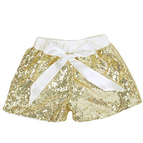 Cilucu Baby Girls Sequin Shorts Toddlers Sparkle Short Pants Kids Birthday Shorts Glitter on Both Sides Gold Ivory 6t]()
