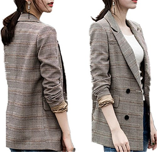Ladies Hacking Jackets - JIANGTAOLANG Women Blazer Straight Slim Double Breasted Blazer Plaid Long Casual Jacket Coat as Picture L