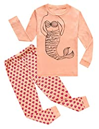 Pajamas For Girls Mermaid Long Sleeve Pjs 100% Cotton Kids Clothes Size 12M-10 Years