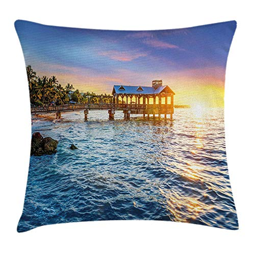 United States Throw Pillow Cushion Cover, Pier at Beach in Key West Florida USA Tropical Summer Paradise, Decorative Square Accent Pillow Case, 18 X 18 Inches, Pale Blue Yellow Green